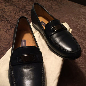 Bally Of Switzerland Dark Navy Slip On Loafers!